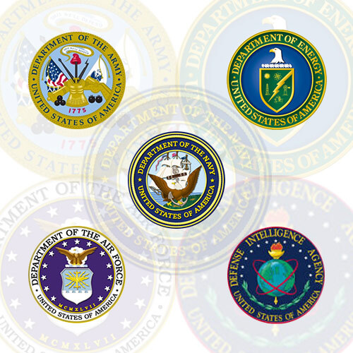 picture of 5 badges containing the department of the army, department of energy, navy, central intelligence agency, and the department of the airforce.